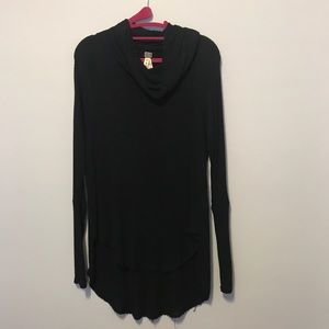 Free People Black High Low Sweater